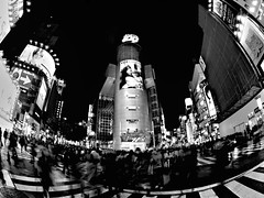 Shibuya 109, Tokyo (sinkdd) Tags: street light urban bw monochrome japan night digital advertising tokyo blackwhite cityscape nightscape nightshot ad olympus fisheye   8mm zuiko blackdiamond  zd fourthirds streetsnap esystem zuikodigital blackwhitephotos passionphotography e520 blackwhiteaward lightofnight olympuse520 evolte520 ysplixblack sinkdd