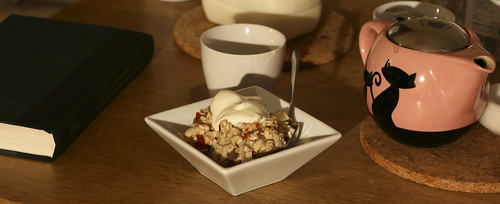 Breakfast: Bircher muesli and rooibos tea