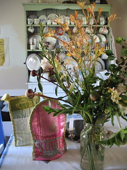 My dining room table with tea cosies, 2008 (Tara Badcock) Tags: home artwork interiors embroidery interior curtain objects skirt textile curtains textiles cushion myhome cushions artworks chezmoi teacosy australianartist tasmanianartist homewares handembroidery personalobjects objetstrouve tarabadcock embroideredtextiles treacosies framedartworks