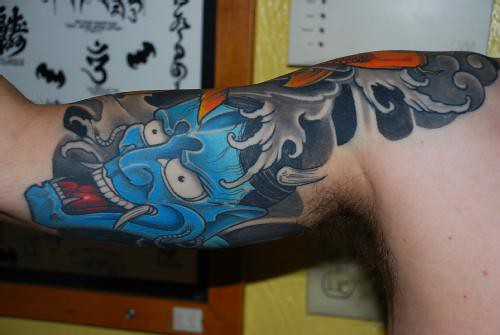 Tattoo Half Sleeve - underneath - Blue Hanya Mask by mitch.miami