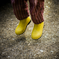 yellow (levitating) boots. (kvdl) Tags: child boots driveway theo levitating yellowboots kvdl