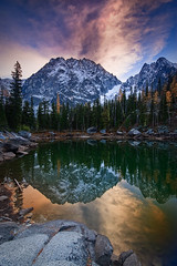 Two Headed Dragon (Bryan Swan) Tags: sunset sky lake color reflection water clouds evening washington wa alpinelakes dragontail colchuck