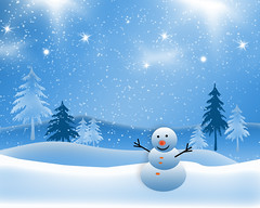 [Free Image] Graphics, Illustration, Scenery (Illustration), Snow, Snowman, 201010191300