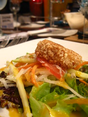 Mesclun salad tossed in dijon shrimp paste vinaigrette