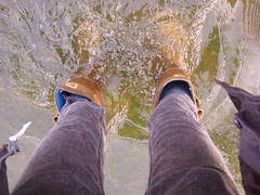 Me, And I'm in water? (joking...) Tags: feet water river legs jeans wellies