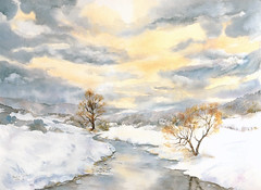 Art: aquarelle: valle des sept chteaux, Ernz blanche, Luxembourg (Nadia Minic) Tags: blue schnee trees winter sky snow art nature water clouds watercolor painting photo stream wasser europe artist gallery mood foto kunst aquarelle hiver kultur natur culture himmel wolken galerie rivire exhibition bleu bach exposition ciel arbres painter watercolour neige blau luxembourg nuages paysage bume artcontemporain oeuvre couleur interessantes atelier ambiance posie acuarelas aquarell beauxarts harmonie saarlorlux lenningen wasserfarben athmosphre artistepeintre aquarelliste watercolourpainter nadiaminic aquarellistin aquarellmalerin ernzblanche valledesseptchateaux luxembourgpainting peintureluxembourg hiverluxembourg
