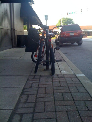Two bikes on a rack