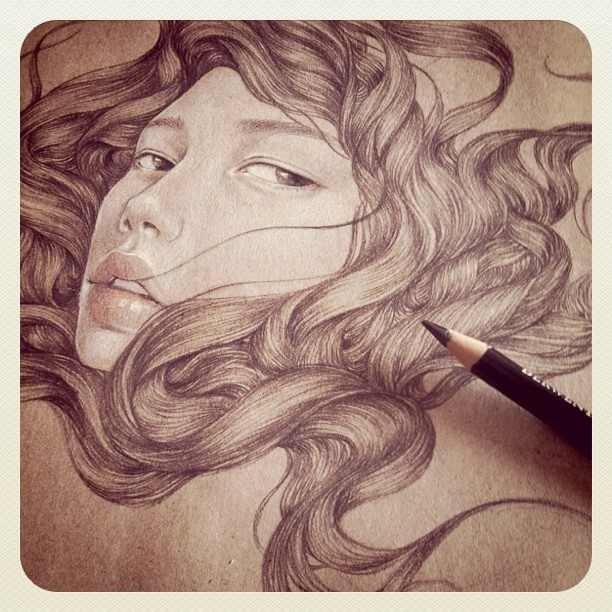 More drawing on brown paper...
