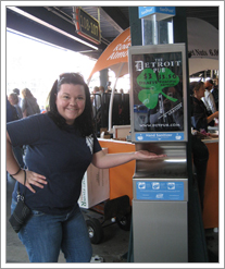 Kelly LaVaute and a Sani-Post at a Tigers game in Comerica Park! by whatsthediffblog, on Flickr