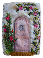 Cottage ATC (crftyscrapper) Tags: door flower atc quilt fabric embroidered beaded silkribbon