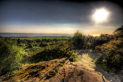 The Writing Is On The Cliff (BarneyF) Tags: sunset sun tree rock liverpool bush explore hdr wirral gorse merseyside deeestuary thurstastoncommon seenonexplore aplusphoto 7exposure