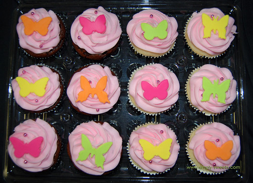 bright colored butterfly cupcakes