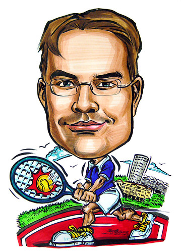 Caricature BASF tennis player