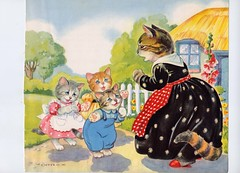 1953 Eulalie Banks Mother Goose, 'Three Little Kittens' (SurrendrDorothy) Tags: old art illustration vintage print children fun fifties antique maine ephemera 1950s 50s etsy decor homedecor 1953 midcentury lithograph nurseryrhymes mothergoose artfire homegoods surrenderdorothy threelittlekittens internationalshipping eulaliebanks raymondmaine zibbet