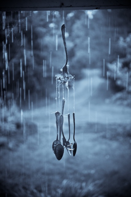 Spoon wind chimes in the rain