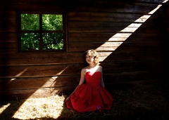 Cast Some Light (olivia bee) Tags: light shadow red window barn dress pentax highlight k200 oliviabee
