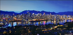 Vancouver Skyline (TOMMY AU PHOTO) Tags: longexposure panorama film skyline vancouver mediumformat downtown nightscape falsecreek nightscene ptgui cans2s