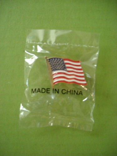 American flag pin - made in China / webchicken