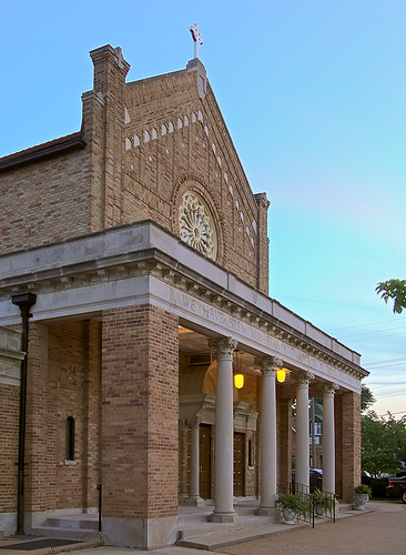 Epiphany of Our Lord Roman Catholic Church, in Saint Louis, Missouri, USA - porch at dusk