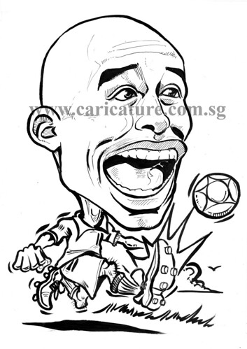 Caricature of David Trezeguet ink outline watermark