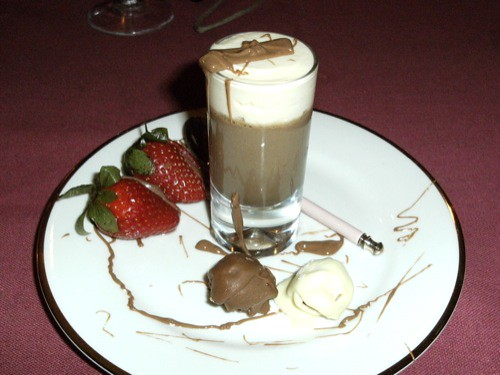 Crème de menthe & chocolate mousse, chocolate-covered raspberries, chocolate-filled strawberries