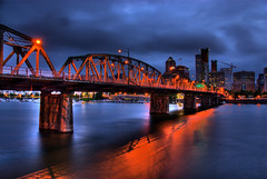 Hawthorne Bridge at Night (Thad Roan - Bridgepix) Tags: city bridge blue sky orange reflection water skyline night clouds oregon buildings river portland lights lift historic explore hawthornebridge willametteriver span hdr bridging truss photomatix bridgepixing bridgepix 200807 enlightedbridge
