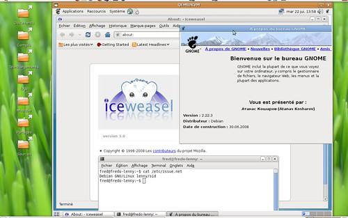 Iceweasel et Gnome 2.22.3 sous Debian Lenny