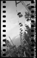 Skyride (iHeartDimSum) Tags: 35mm holga calgarystampede sprocketholes adifferentperspective kodakbw sprocketography