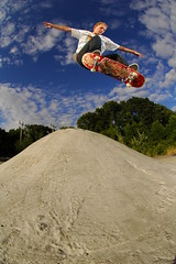 Mike - Ollie up and over boob (Cherryrig) Tags: park mike diy nikon skateboarding shots flash d70s fisheye fleet boob skyport sb26 105mmf28gfisheye sb25 strobist cherryrig
