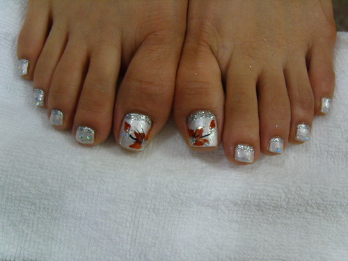 Silver color and Red Flowers on it. Nail art design for toenails polish idea, toe nail