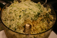 grated squash in the bowl