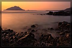 Costal twilight volcano