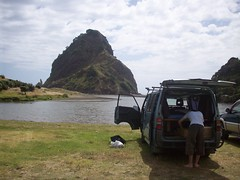 Piha Beach (- MattW -) Tags: ocean sea newzealand reflection travelling beach auckland backpacking northisland kiwi camper aotearoa lanscape campervan piha lionrock pihabeach