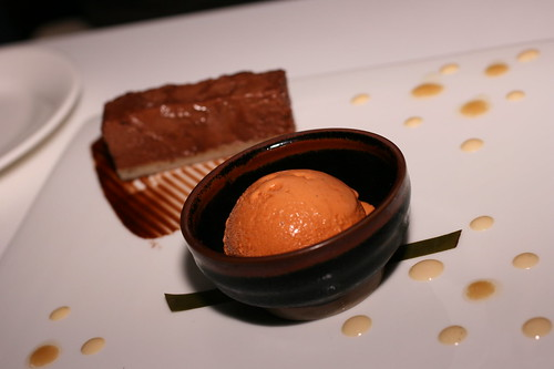 Banana Chocolate Mousse with Thai Tea ice Cream