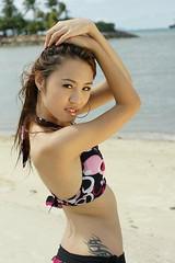 DSC08716 (montoyasg) Tags: portrait people beach beauty claire model singapore minolta sony bikini alpha joanne sentosa 2008 amount tanjong