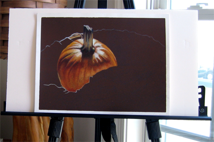 Photo of in progress as yet untitled drawing of a still life featuring a pumpkin.