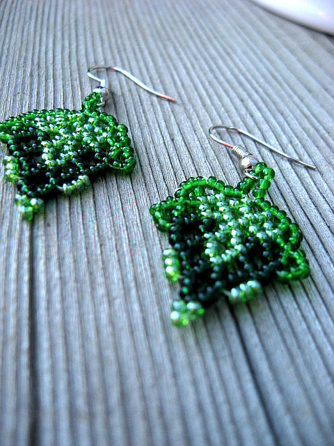 Green Hues Beadwoven Earrings