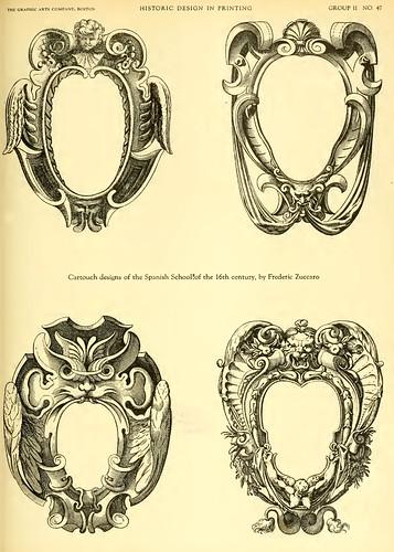 09-Cartuchos diseñados por Frederic Zuccaro de la Escuela Española en el siglo XVI