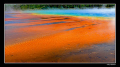 Biscuit Basin Yellowstone (Bonell Photography (dasbull)) Tags: park blue mars orange usa hot green water beautiful fog reflections spring steam panasonic yellowstone ripples wyoming framing streaks bacteria deepblue fz50 biscuitbasin dasbull ronbonell