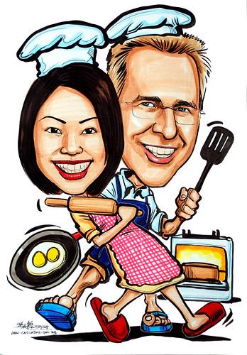 Couple caricatures - chef cooking