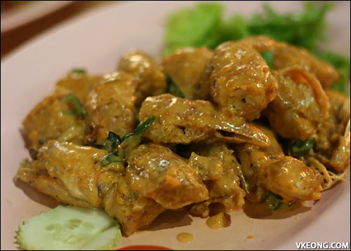 salted egg mantis prawns