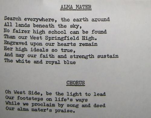 WEST SPRINGFIELD HIGH SCHOOL ALMA MATER