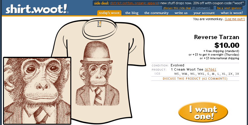 Monkey at Shirt.woot today!