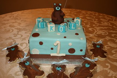 Teddy Bear cake and cookies (irresistibledesserts) Tags: birthday bear cookies cake shower teddy first