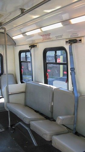 Driver's side interior view of Ford Paratransit bus # 4183.