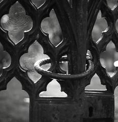 Cathedral Gates (Davescunningplan) Tags: blackandwhite metal cathedral spiders gates web lancashire blackburn locked davescunningplan