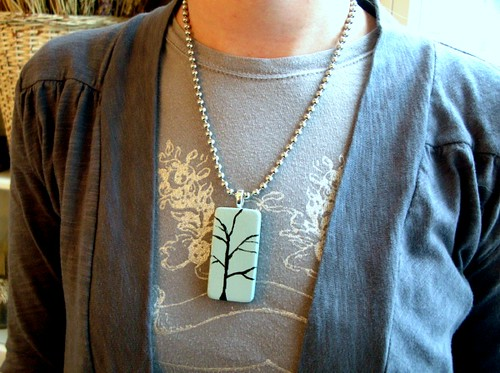 Blue and Black Tree Pendant Necklace