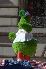 The Phillie Phanatic on Broad Street for 2008 World Series Parade