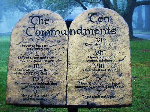 The Ten Commandments / Picture taken of a display of the Ten Commandments outside of the Clarke County Baptist Association office building in Quitman, Mississippi. Taken in Spring 2008.
