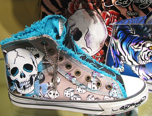 Ed Hardy high top tennis shoes with 8-ball, skulls, dice, tiger, rose, etc.